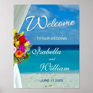 Beach Themed Welcome Sign | Beach Flower Summer Wedding