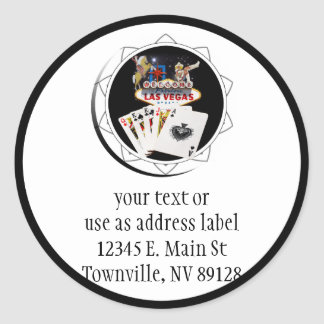 Welcome Sign Black Poker Chip Classic Round Sticker