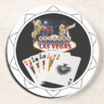 Welcome Sign Black Poker Chip Coasters