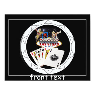 Welcome Sign Black Poker Chip 4.25x5.5 Paper Invitation Card