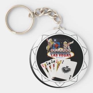 Welcome Sign Black Poker Chip Basic Round Button Keychain