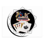 Welcome Sign Black Poker Chip Post Card