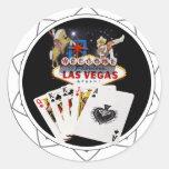 Welcome Sign Black Poker Chip Round Sticker