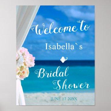 Beach Themed Welcome Sign | Blue Ocean Beach Bridal Shower