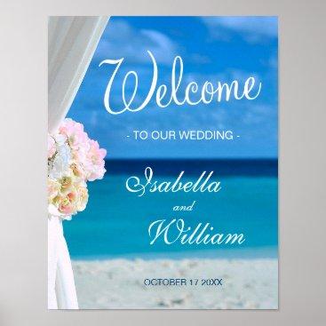 Beach Themed Welcome Sign | Blue Ocean Beach Summer Wedding