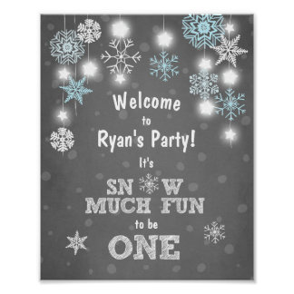 Welcome Sign Blue snowflakes Snow much fun One