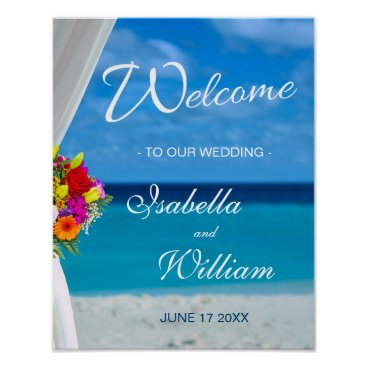 Beach Themed Welcome Sign | Colorful Flowers Beach Wedding