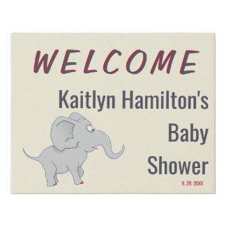 Welcome Sign Cute Elephant | Baby Shower New Mom