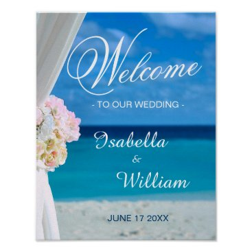 Beach Themed Welcome Sign | Floral Ocean Beach Summer Wedding