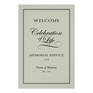 Welcome sign for Memorial Service Poster