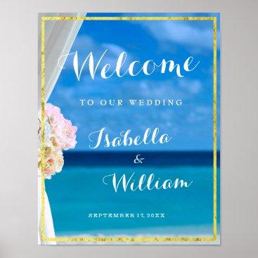 Beach Themed Welcome Sign | Gold Ocean Beach Summer Wedding