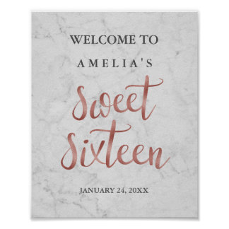 Welcome Sign Marble Faux Rose Gold Sweet Sixteen