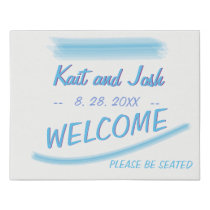 Welcome Sign Minimalist Soft Ambiance Blue