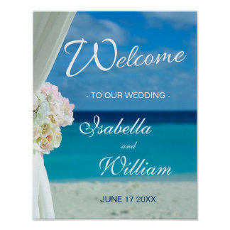 Welcome Sign | Ocean Beach Summer Wedding