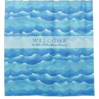 welcome sign painted seashore beach ocean waves shower curtain