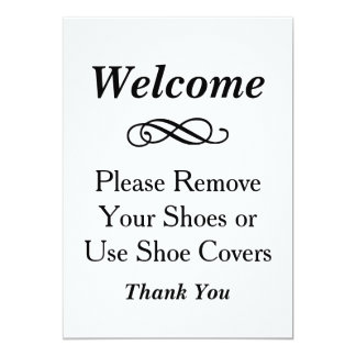 Welcome Sign   Please Remove Shoes Card