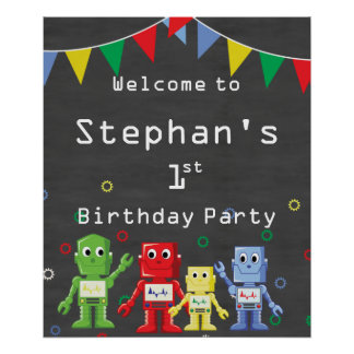 Welcome sign Robot themed birthday party