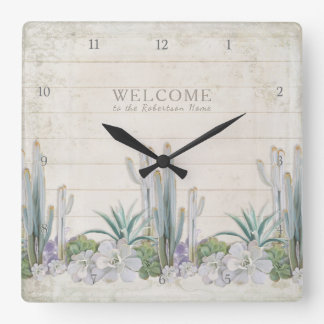 Welcome Sign Vintage Shiplap Wood Desert Cactus Square Wall Clock