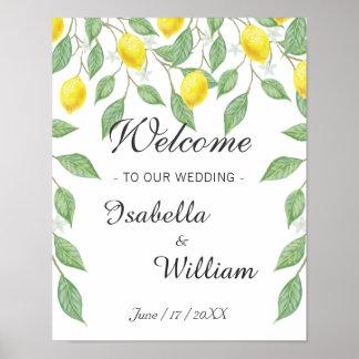 Welcome Sign | Watercolor Lemon Summer Wedding