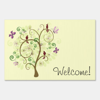 Welcome Sign with Tree and Birds