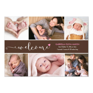 Welcome Six Photo Collage Birth Announcement