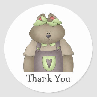 Welcome Spring · Bear in Purple Overall Classic Round Sticker