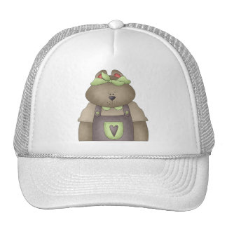 Welcome Spring · Bear in Purple Overall Trucker Hat
