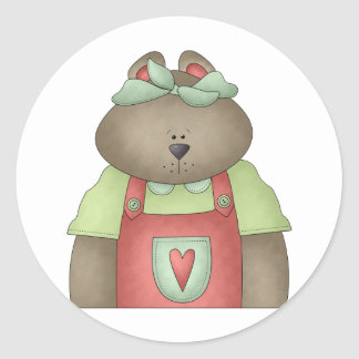 Welcome Spring · Bear in Red Overall Classic Round Sticker