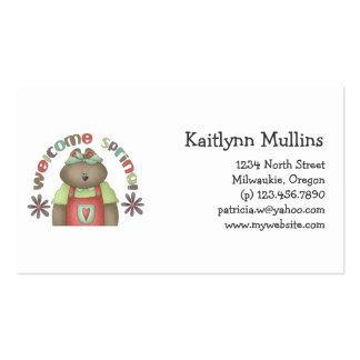 Welcome Spring · Bear & Wordart Business Card Templates