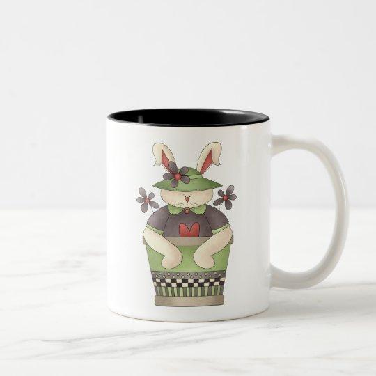 Welcome Spring · Bunny & Green Flower Pot Two-Tone Coffee Mug