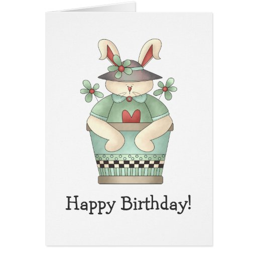 Welcome Spring · Bunny & Teal Flower Pot Greeting Card