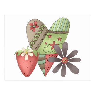 Welcome Spring · Heart Strawberry Flower Post Cards