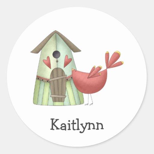 Welcome Spring · Red Bird & Birdhouse Classic Round Sticker