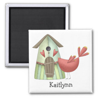 Welcome Spring · Red Bird & Birdhouse 2 Inch Square Magnet