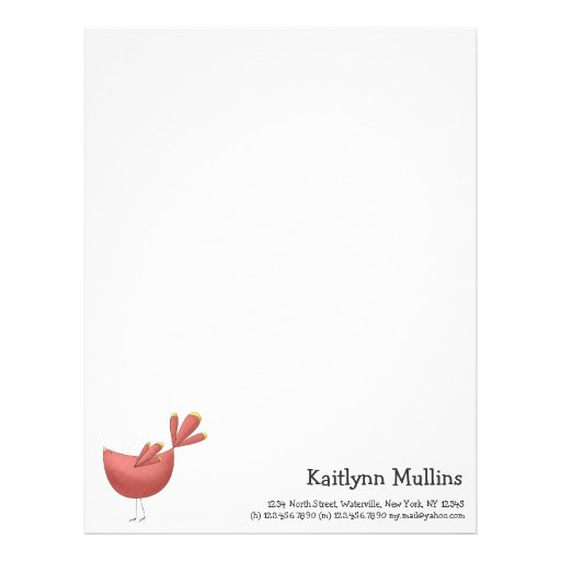 Welcome Spring · Red Bird Customized Letterhead