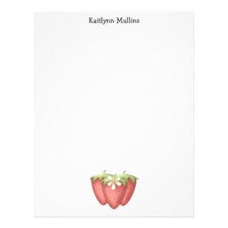 Welcome Spring · Strawberries Flower Custom Letterhead