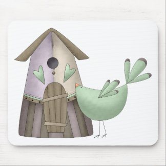 Welcome Spring · Teal Bird & Birdhouse Mouse Pad