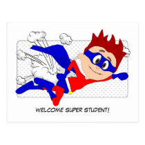 Welcome Super Student Boy Postcard Back to School