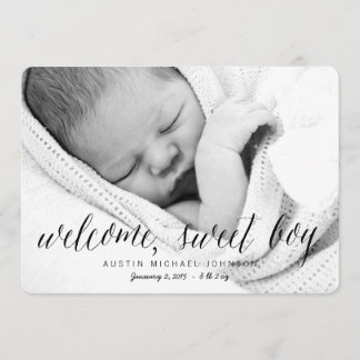 Welcome Sweet Boy | Photo Birth Announcement