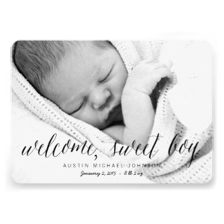 Welcome Sweet Boy - Photo Birth Announcement Invites