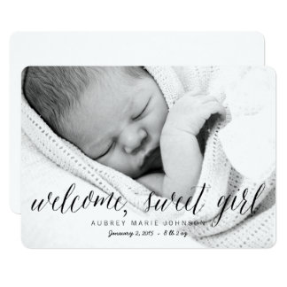 Welcome Sweet Girl | Photo Birth Announcement