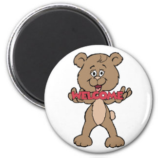 Welcome Teddy Bear 2 Inch Round Magnet