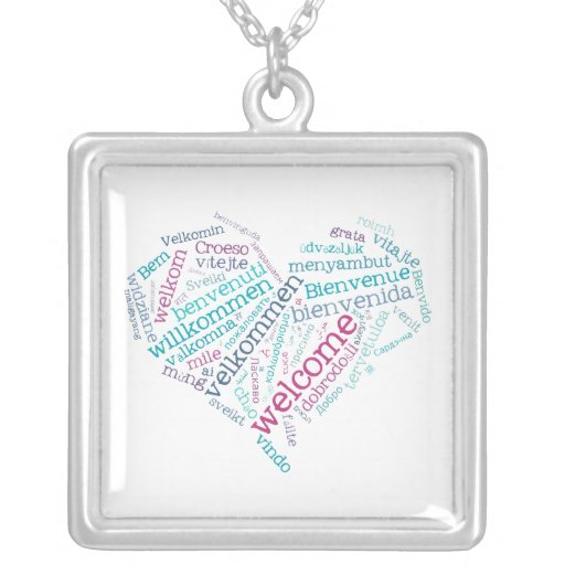 Welcome text heart jewelry