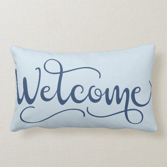 Periwinkle Blue Throw Pillow : Welcome Throw Pillow in Periwinkle and Gray-Blue Zazzle