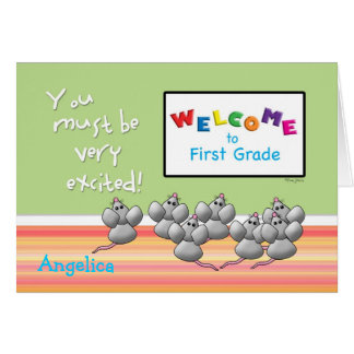 Welcome to 1st Grade from Teacher Cute Mice Card