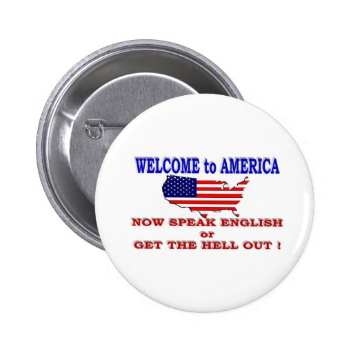 WELCOME TO AMERICA 2 INCH ROUND BUTTON