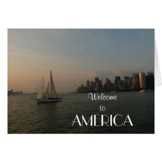 Welcome to America/New York Skyline/Sailboat Card