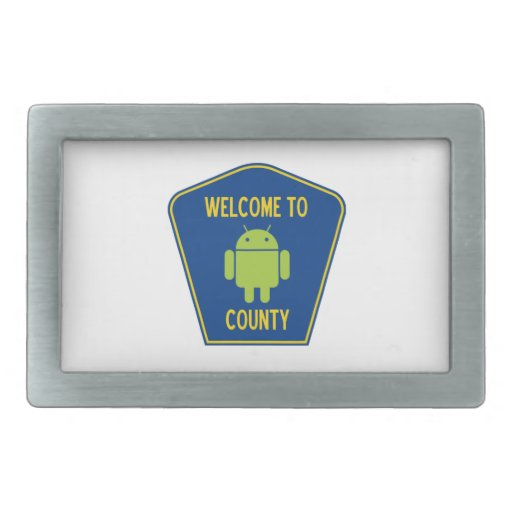 Welcome To Android (Bugdroid) County Sign Belt Buckles