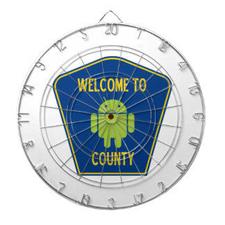 Welcome To Android (Bugdroid) County Sign Dartboard