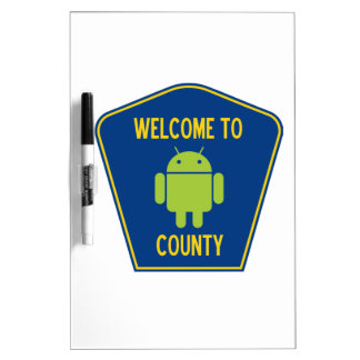 Welcome To Android (Bugdroid) County Sign Dry Erase Whiteboards